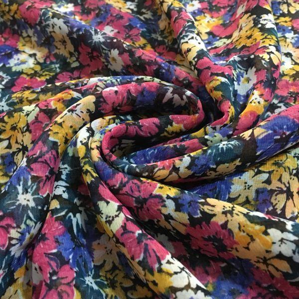 Çiçek Desenli Şifon Kumaş