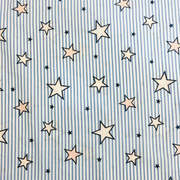 Yıldız Desenli Poplin Mavi YGT