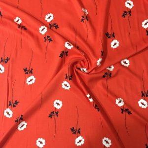 Çiçek Desenli Viskon Kırmızı