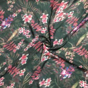 Pembe Çiçekli Şifon Kumaş