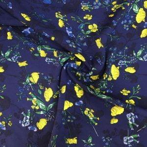 Sarı Çiçek Desenli Viskon KRZ