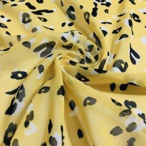 Sarı Leopar Desenli Şifon