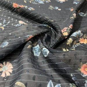 Çiçek Desenli Şifon Siyah