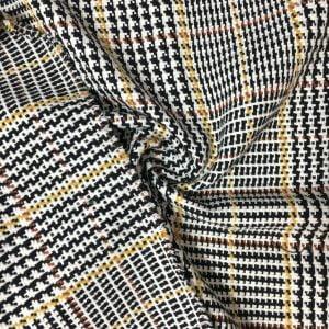 Sarı Çizgili Chanel Kumaş Yünlü Ekoseli Sarı Çizgili Chanel Kumaş