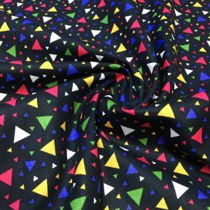 Geometrik Desenli Poplin Siyah AYT