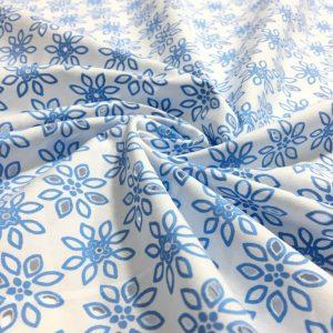 Çiçek Desenli Poplin Fisto Mavi