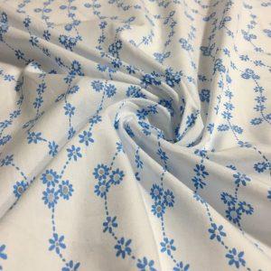 Çıtır Çiçek Desenli Poplin Fisto Mavi