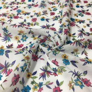 Beyaz Pembe Çiçekli Tülbent Kumaş