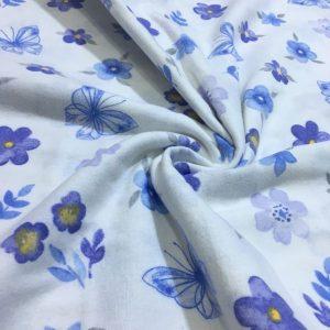 Çiften Çıtır Çiçek Desenli Pazen Mavi AYT