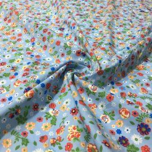 Çıtır Çiçek Desenli Poplin Mavi