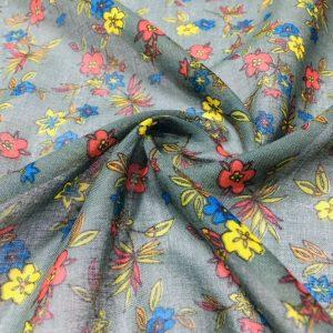 Çıtır Çiçek Desenli Tülbent Kumaş Zümrüt