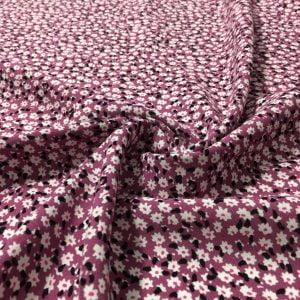 Çıtır Çiçek Desenli Viskon Kumaş Pembe