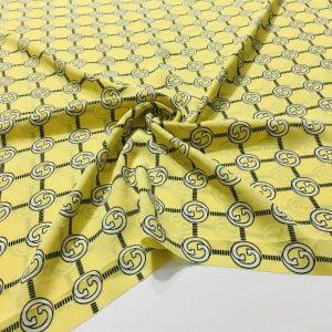 Marka Desenli Süper Şifon Sarı