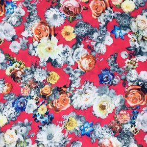 Dökümlü Çiçek Desenli Krep Pembe AYT