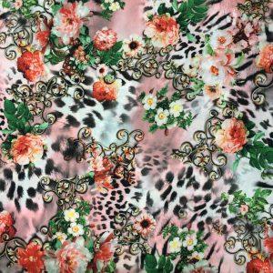 Dökümlü Çiçek Desenli Krep Pudra AYT