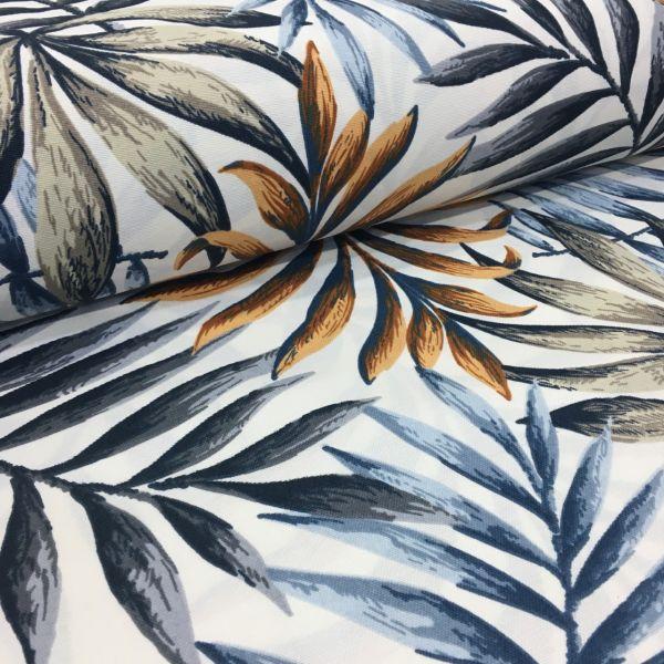 Mavi Kahve Palmiye Desenli Duck Keten AYT