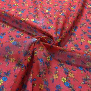 Kırmızı Sarı Çiçekli Tülbent
