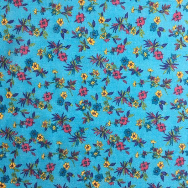 Mavi Çiçek Desenli Tülbent