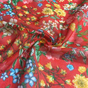 Nar Çiçeği Desenli Tülbent