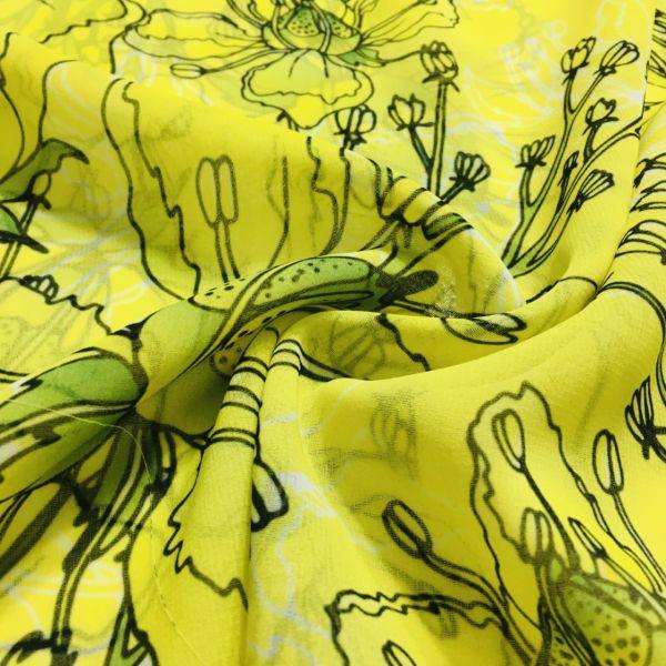Neon Çiçek Desenli Şifon Kumaş EF