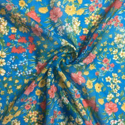 Pembe Sarı Çiçek Desenli Tülbent