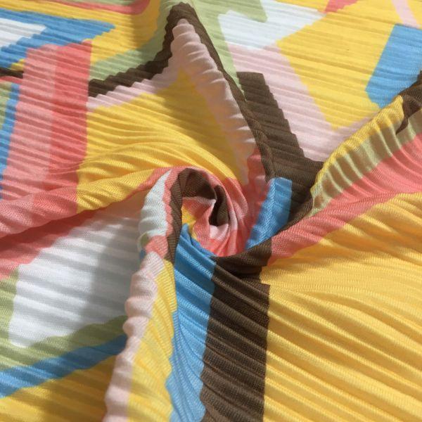 Rengarenk Pliseli Penye Kumaş