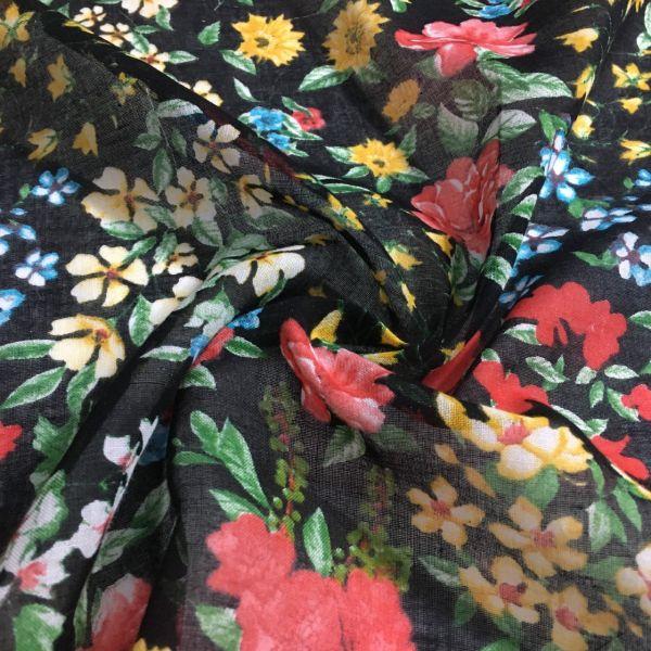 Siyah Çiçek Desenli Tülbent