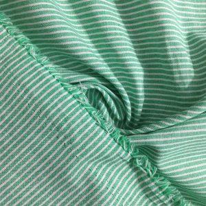 Yeşil Çizgili Keten Poplin