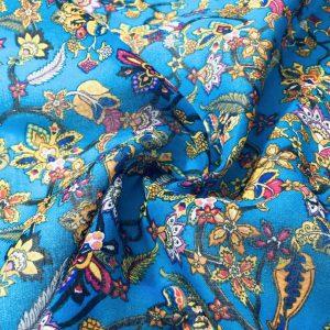 Yaprak Çiçek Desenli Tülbent Mavi