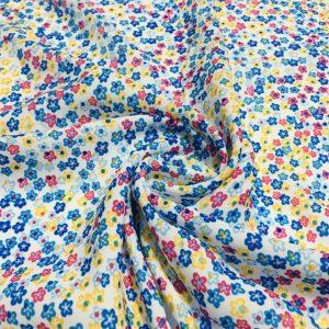 Çıtır Çiçek Desenli Saten Mavi Çıtır Çiçek Desenli Krep Mavi