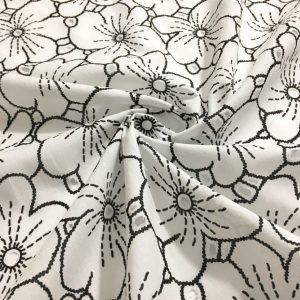 Siyah Çiçek Desenli Vual Fisto Kumaş