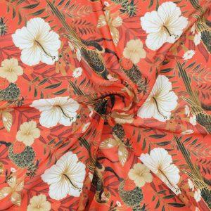 Orange Beyaz Çiçekli Şifon Kumaş
