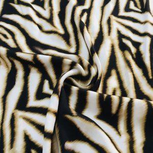 Caramel Zebra Desenli İpek Viskon