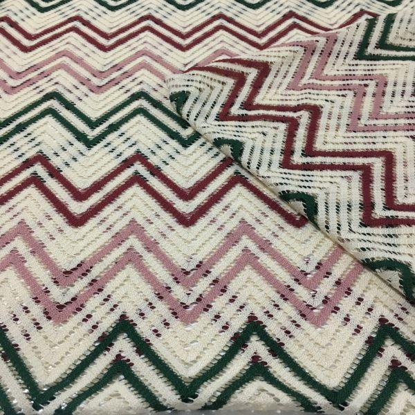 Bordo Yeşil Missoni Desenli Kumaş